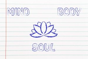 yoga & lotus flower illustration, mind body and soul